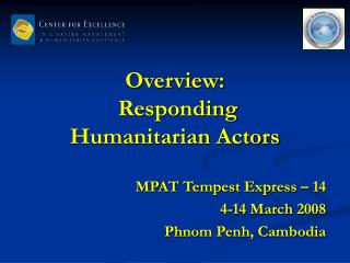 Overview:  Responding Humanitarian Actors