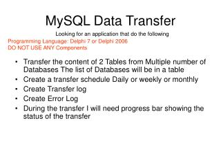 MySQL Data Transfer