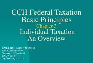 CCH Federal Taxation Basic Principles Chapter 3 Individual Taxation An Overview