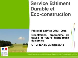 Service Bâtiment Durable et Eco-construction