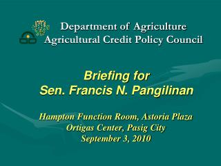 Department of Agriculture Agricultural Credit Policy Council