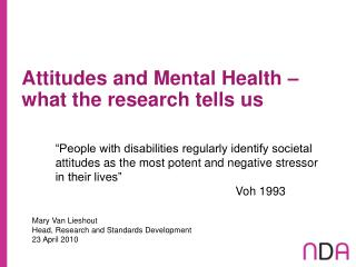 Attitudes and Mental Health – what the research tells us