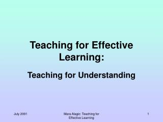 Teaching for  Effective  Learning: