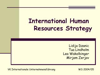 International Human Resources Strategy