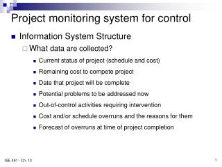 Project monitoring system for control