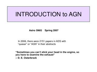 INTRODUCTION to AGN