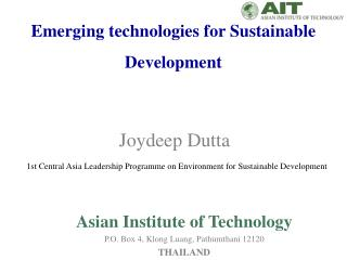 Emerging technologies for Sustainable Development