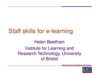 Staff skills for e-learning