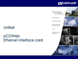 Uniflair  pCOWeb  Ethernet interface card