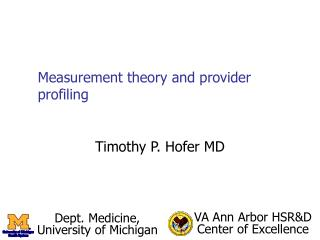Measurement theory and provider profiling