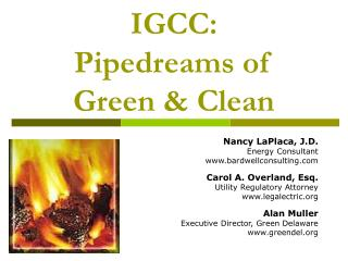 IGCC: Pipedreams of  Green & Clean