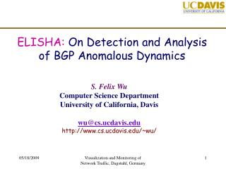 ELISHA:  On Detection and Analysis of BGP Anomalous Dynamics