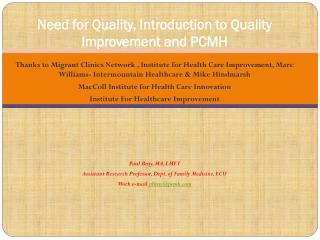 Need for Quality, Introduction to Quality Improvement and PCMH