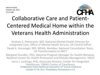 Collaborative Care and Patient-Centered Medical Home within the Veterans Health Administration