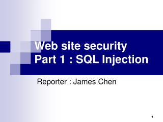 Web site security Part 1 : SQL Injection