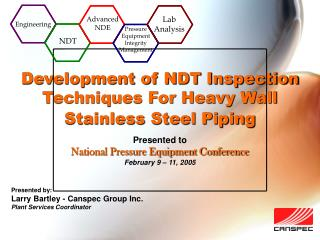 Development of NDT Inspection Techniques For Heavy Wall Stainless Steel Piping