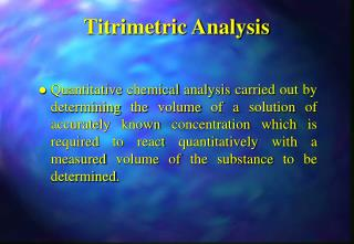 Titrimetric Analysis