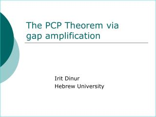 The PCP Theorem via  gap amplification
