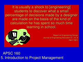 APSC 160 5. Introduction to Project Management