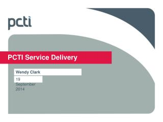 PCTI Service Delivery