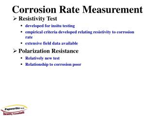 Corrosion Rate Measurement