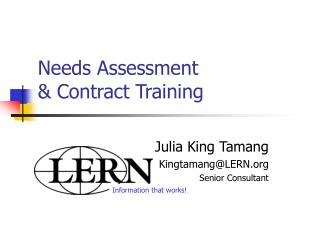 Needs Assessment  & Contract Training