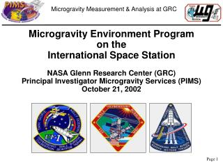 Microgravity Environment Program on the  International Space Station