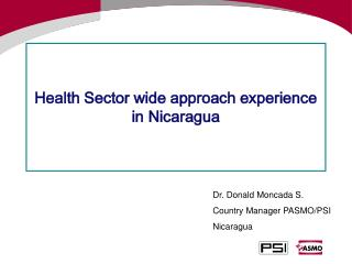 Health Sector wide approach experience in Nicaragua