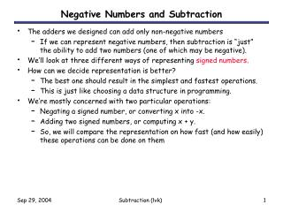 Negative Numbers and Subtraction