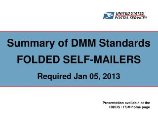 Summary of DMM Standards  FOLDED SELF-MAILERS Required Jan 05, 2013