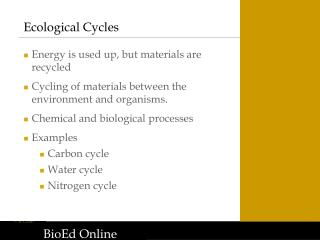 Ecological Cycles