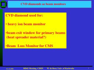 CVD diamonds as beam monitors
