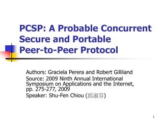 PCSP: A Probable Concurrent Secure and Portable Peer-to-Peer Protocol