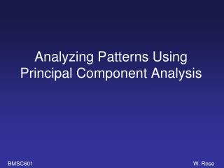 Analyzing Patterns Using Principal Component Analysis