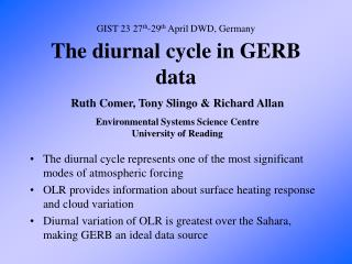 The diurnal cycle in GERB data
