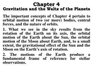 Chapter 4 Gravitation and the Waltz of the Planets