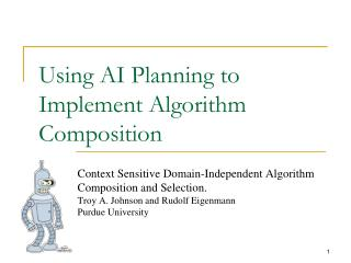Using AI Planning to Implement Algorithm Composition