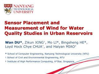 Sensor  Placement and Measurement  of Wind  for Water Quality Studies in Urban  Reservoirs