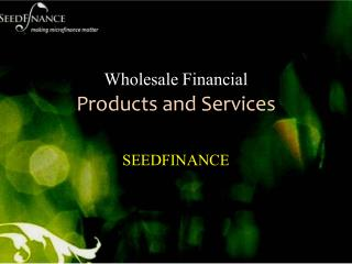 Wholesale Financial Products and Services