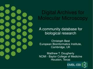 Digital Archives for Molecular Microscopy