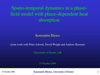 Spatio-temporal dynamics in a phase-field model with phase-dependent heat absorption