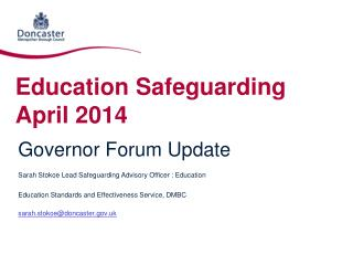 Education Safeguarding April 2014