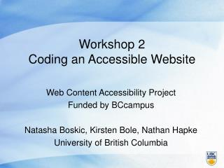 Workshop 2 Coding an Accessible Website