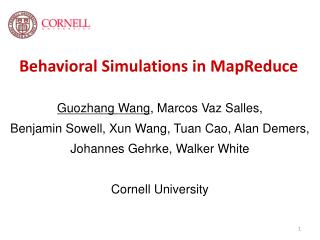 Behavioral Simulations in MapReduce