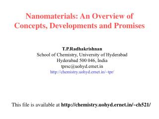 Nanomaterials: An Overview of Concepts, Developments and Promises