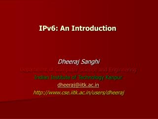 IPv6: An Introduction