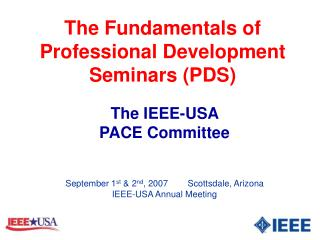 The Fundamentals of Professional Development Seminars (PDS)
