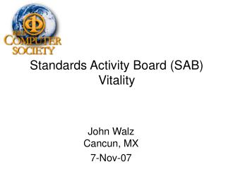 Standards Activity Board (SAB) Vitality