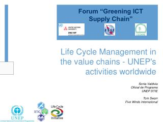 Life Cycle Management in the value chains - UNEP's activities worldwide