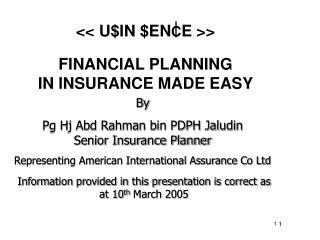 FINANCIAL PLANNING  IN INSURANCE MADE EASY